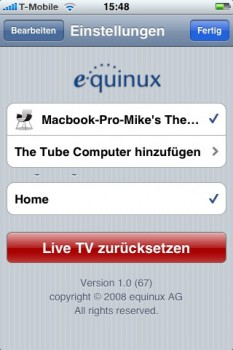 Nach erfolgreicher Verbindung steht der Mac als Empfangsstation zur Verfügung