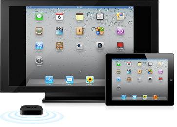 Mit Airplay gelangt der iPad-Inhalt via Apple TV drahtlos auf den HD-Fernseher
