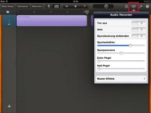 Ihr wollte eurem Musikstück noch ein wenig Hall oder Echo verpassen? Geht mit Garageband fürs iPad auch.