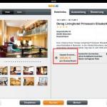 """Erst nach dem Verzweigen auf """"Hotelinfos"""" wird der Preis richtig dargestellt"""