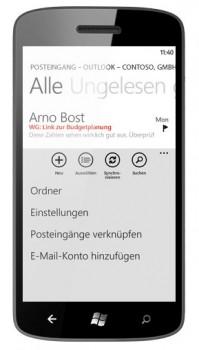 E-Mail auf dem Lumia 800, und das via Google Mail, Outlook und eigenen Mailservern