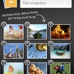Titel eingeben und Bilder neu arrangieren - das ist mit der clixxie-fotobuch-App ein Klacks