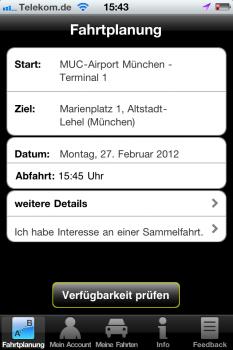Sammeltaxifahrten per App - das ermöglicht die iPhone-App colexio