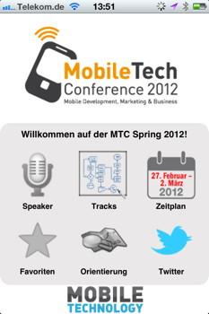 Die App zur MobileTech Conference 2012: Übersichtlich, aber nicht spektakulär