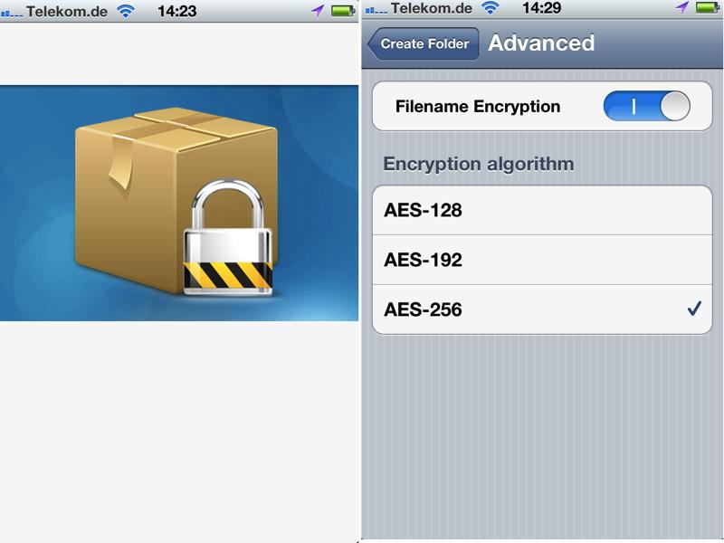 Höchste Verschlüsselungsstufe innerhalb von Dropbox - auch via iPhone