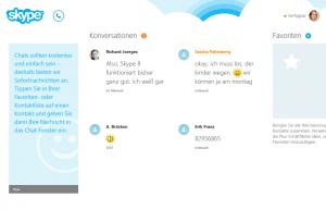 Übersichtlich und aufgeräumt - so präsentiert sich die Windows-8-Skype-App