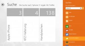 Die integrierte Suchfunktion listet die Treffer pro Kategorie auf. Die vertikale Beschriftung ist ein wenig unglücklich