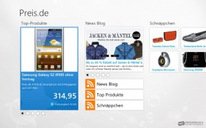 Der Startbildschirm der preis.de-App präsentiert sich aufgeräumt