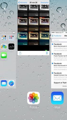 Das Beenden einer App geschieht unter iOS 7 mit einer Wischgeste
