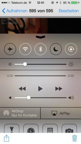 Mit dem neuen Control Center von iOS 7 hat man wichtige Funktionen und Apps auf einen Tipp