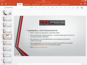 Powerpoint für das iPad in Aktion