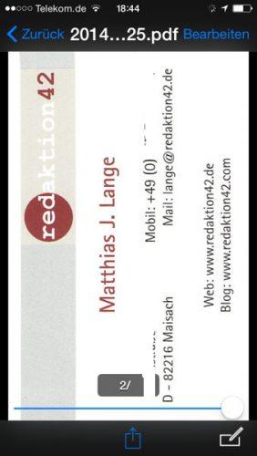 ScanSnap iX100- Et voilà, die gescannte Visitenkarte vom werten Kollegen