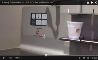 Embedded World 2015: IoT-Kaffeemaschine von Bluewind am Arrow-Stand