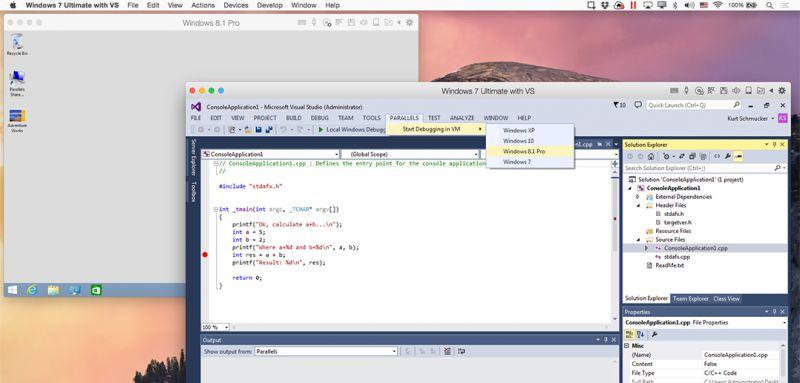 Visual Studio Plugin von Parallels Desktop