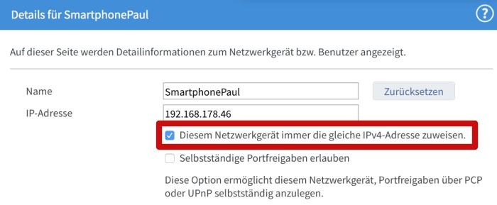 Fritzbox 7430 - Immer dieselbe IP-Adresse zuweisen