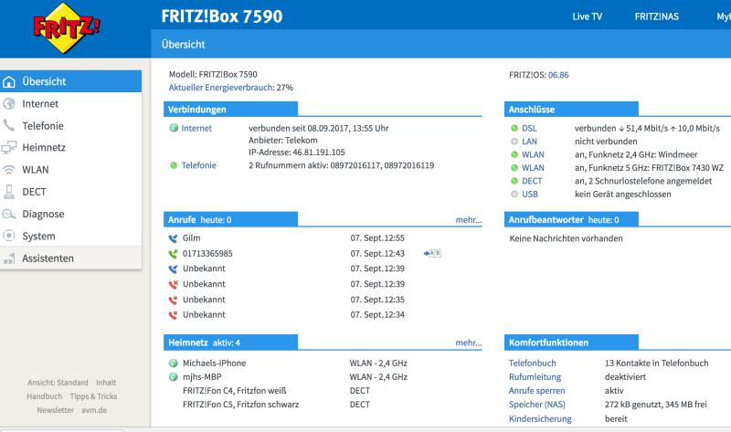 Fritzbox wiederhergestellt