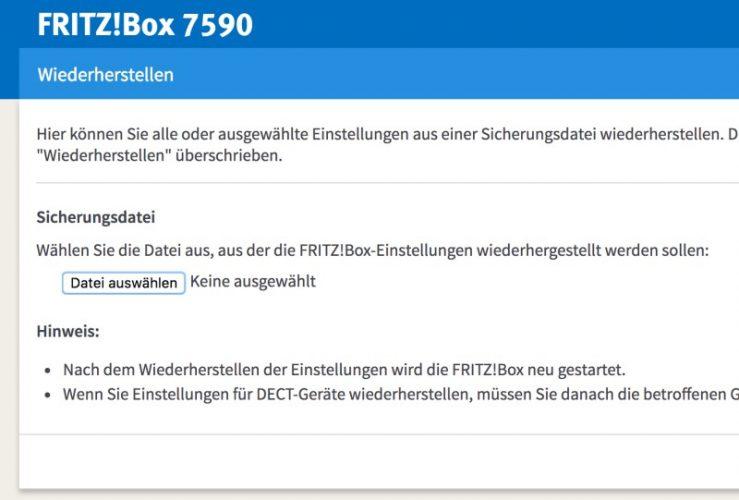 Fritzbox wiederherstellen