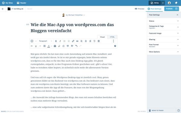 Wie die Mac-App von wordpress.com das Bloggen vereinfacht