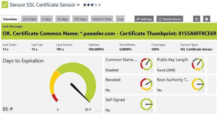 Der Sensor SSL-Zertifikat zeigt an, ob mit der gesicherten Verbindung alles ok ist
