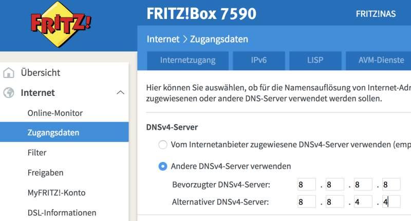 schnelleren DNS-Server in Fritzbox eintragen
