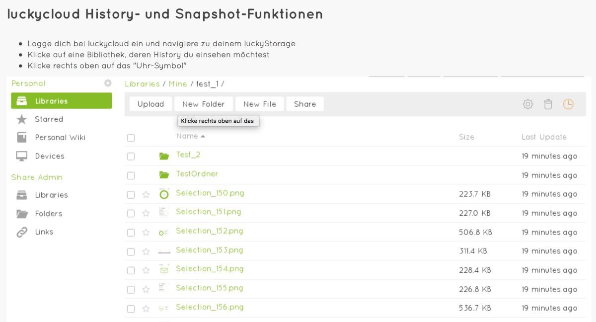luckycloud History- und Snapshot-Funktionen