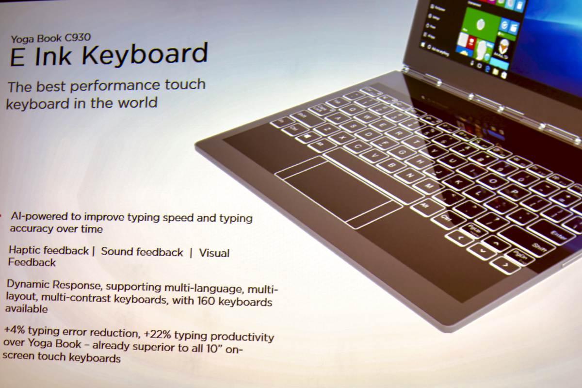 Die E-Ink-Tastatur des Lenovo Yoga Book C930 ist äußert anpassungsfähig und lernt dank KI permanent dazu