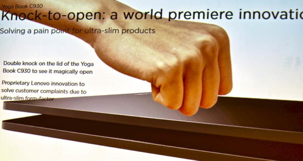 Funny idea: Zweimal kurz auf das Lenovo Yoga Book C930 geklopft, und schon öffnet sich der Deckel wie von selbst