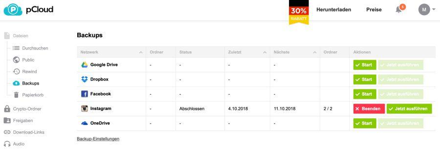 Mit pCloud lassen sich automatisiert Backups der Onlinedaten generieren