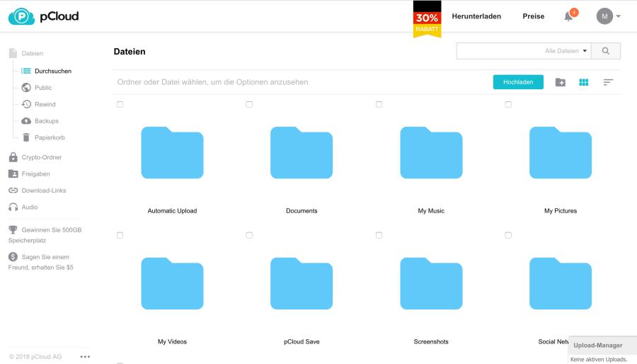 pCloud Drive zum Verwalten sämtlicher Daten