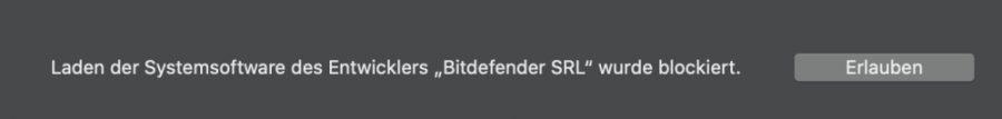Siebter Schritt - Systemsoftware von Bitdefender Small Office Security auf Mac zulassen
