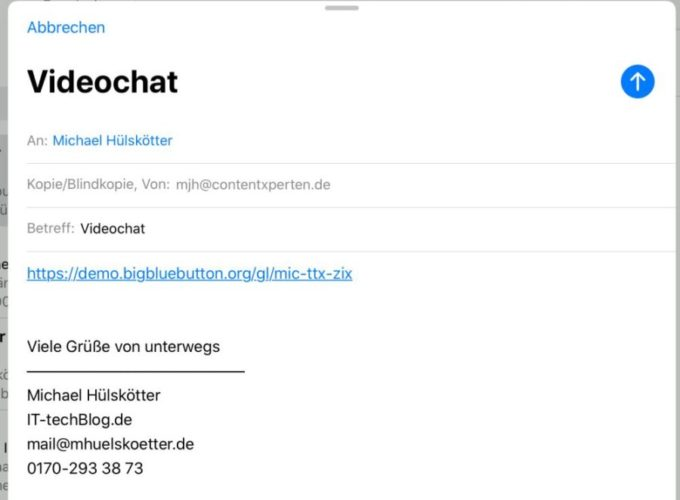 BigBlueButton - URL mailen