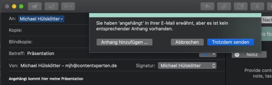 Lieblingsfeature 2 - Mailbutler bemerkt vergessene Anhänge