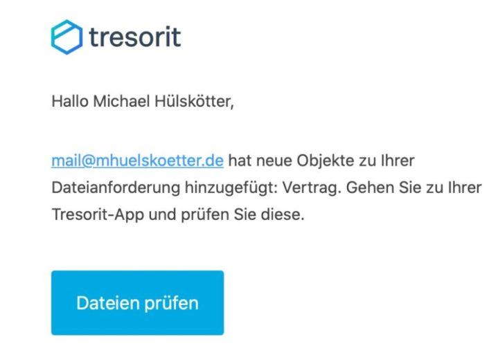 Tresorit-Funkktion Dateianforderung via E-Mail nutzen