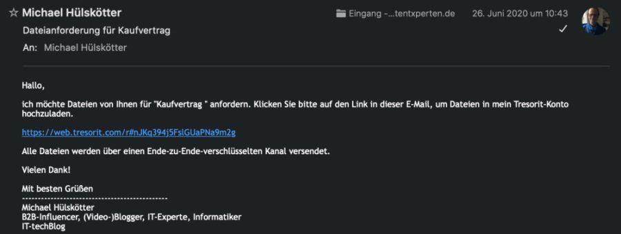 Zu Tresorit-Funktion Dateianforderung via E-Mail einladen