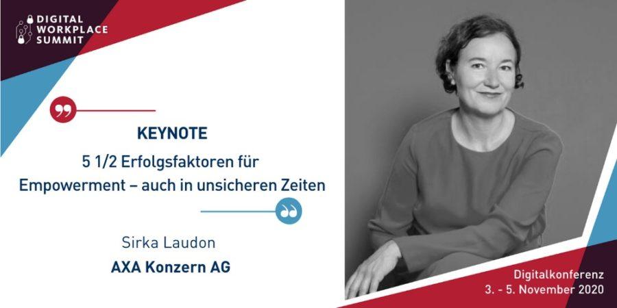 Sirka Laudon hält die Keynote-Präsentation auf dem #DWSC20