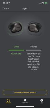 Jabra-App Sound+ Mit MyFit den Sitz der Ohrstöpsel vermessen 2