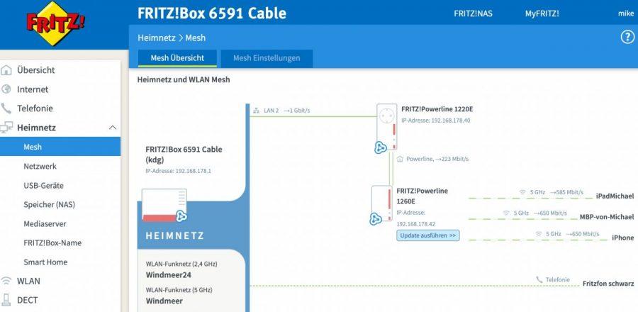 Mesh-Netzwerk, bestehend aus Fritzbox und Fritz.Powerline-Set 1260E