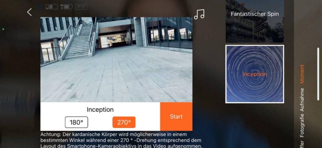 Mit der Funktin Inception dreht sich der Hohem-Gimbal iSteady X selbst um 180 oder 270 Grad