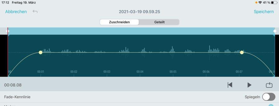 Shure MV88 - Audioschnitt in der MOTIV-App