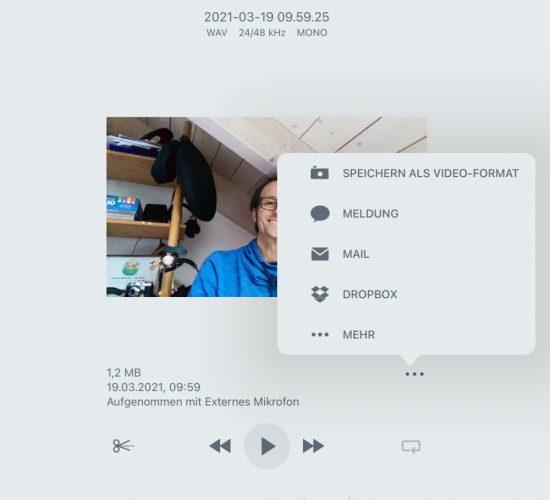 Shure MV88 - Speichern als Video