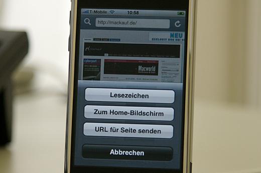 Mit der Firmware 1.1.3 kann man auf dem iPhone Webseiten auf dem Homescreen ablegen