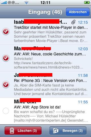mehrere mails auf einmal löschen iphone