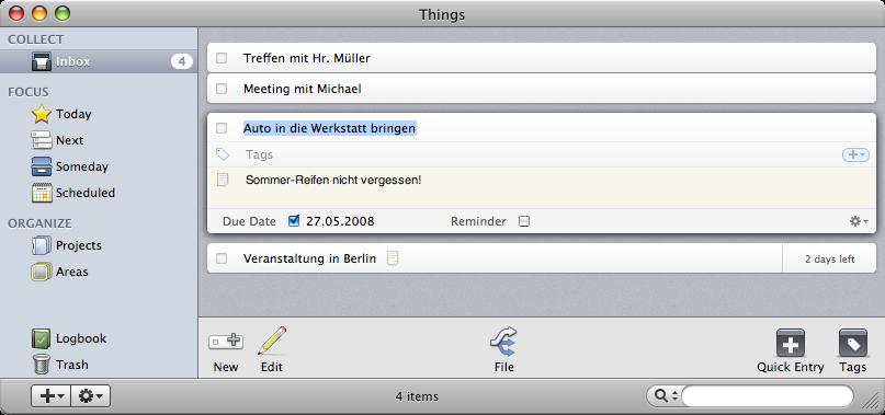 Things Projekt- und Taskmanagement für den mac